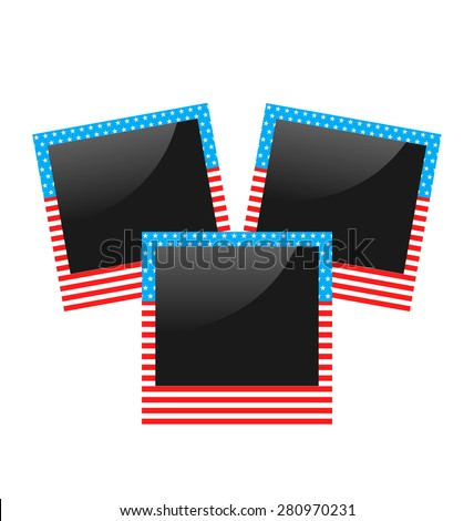 Illustration three photo frame in US national colors isolated on white background - raster - stock photo
