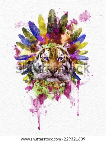 illustration tiger / T-shirt Graphics / tiger poster / artistic tiger /high-resolution graphics illustration / watercolor tiger graphics / Retro design / Face of a white bengal tiger - stock photo