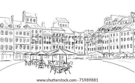 Illustration  to the old town - sketch