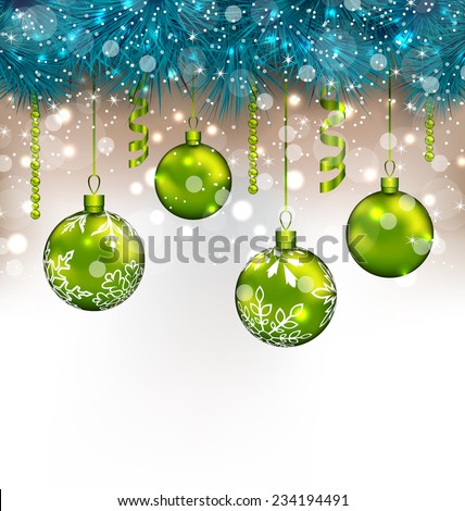 Illustration traditional decoration with fir branches and glass balls for Happy New Year