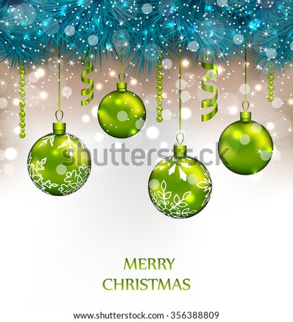 Illustration Traditional Decoration with Fir Branches and Glass Balls for Happy New Year - raster