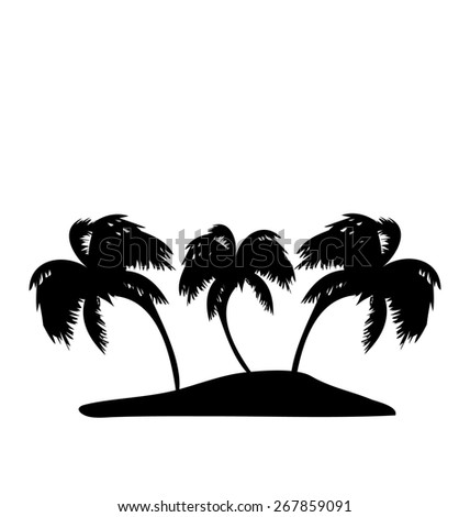 Illustration tropical island with palm trees silhouette - raster - stock photo