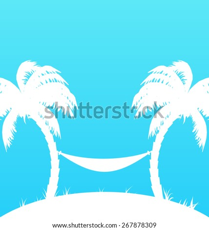 Illustration tropical paradise background with palm trees and hammock - raster - stock photo