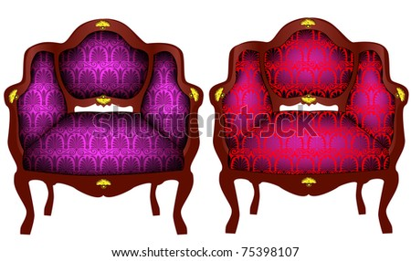 illustration two chairs with gold(en) detail - stock photo