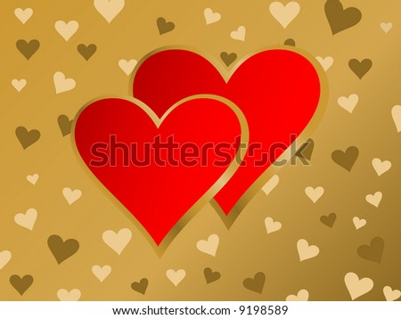 Illustration two red hearts. Valentines background.