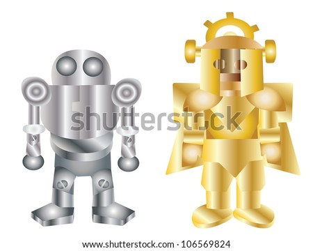Illustration - Two robots.The iron robot and the golden robot.