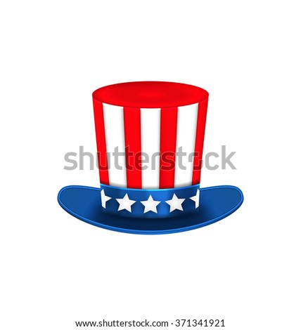 Illustration Uncle Sam's Hat for American Holidays, Isolated on White Background - raster