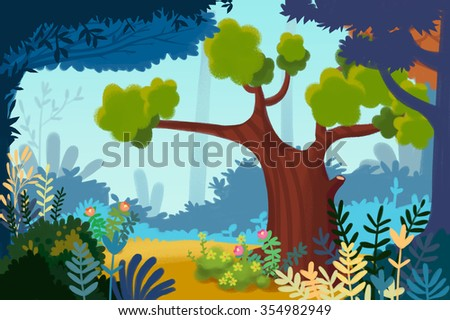 Illustration: Urban Garden or Park. Realistic Fantastic Cartoon Style Artwork Scene, Wallpaper, Story Background, Card Design  - stock photo