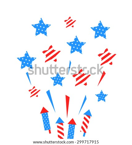 Illustration Usa Background with Rockets and Stars for Independence Day of America, US National Colors - raster - stock photo