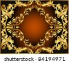illustration vegetable winding gold pattern frame - stock vector