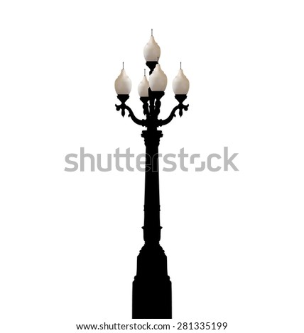 Illustration vintage forged lamppost isolated on white background - raster - stock photo