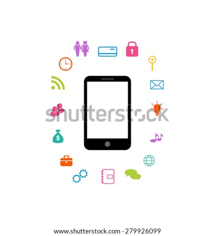 Illustration virtual world with smartphone, set infographic element - raster - stock photo
