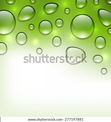 Illustration water abstract green background with drops, place for your text - raster - stock photo