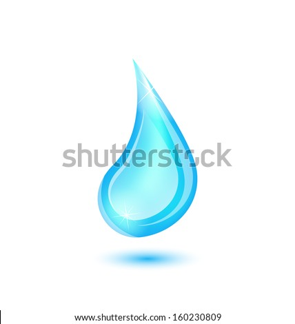 Illustration water drop isolated on white background - raster - stock photo