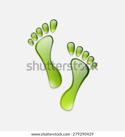 Illustration water green human foot print  isolated on white background - raster - stock photo