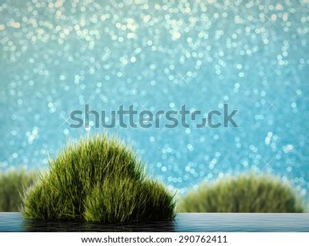 illustration water plant on blue glitter background - stock photo