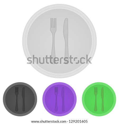 Illustration web  buttons  -  fork and  knife - stock photo