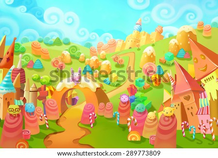 Illustration: Welcome to the Candy Land! - upgraded. You lost in forest and meet the candy world. Those little candy creatures saw you too. Welcome, they seems said. - Fantastic Style Scene Design - stock photo
