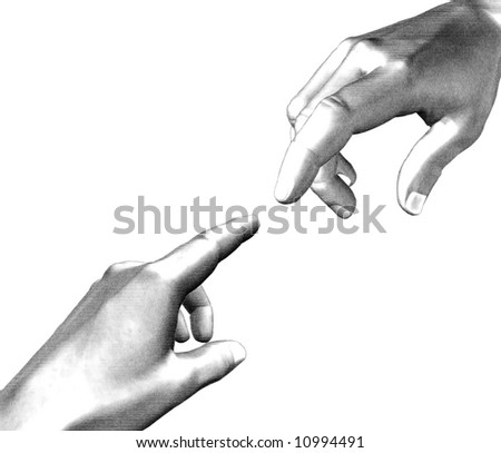 Illustration white and black two hands pointing fingers