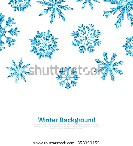 Illustration Winter Background with Sparkle Snowflakes for Celebration Card, Glittering Elements, Blue Luxury Background - raster - stock photo