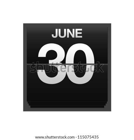 Illustration with a counter calendar june 30. - stock photo