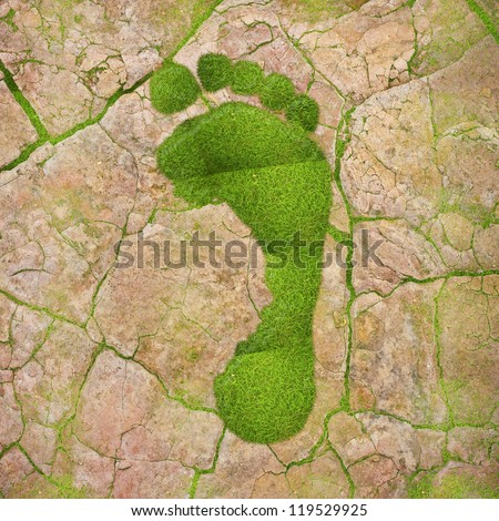 Illustration with a green footprint on dry land. - stock photo