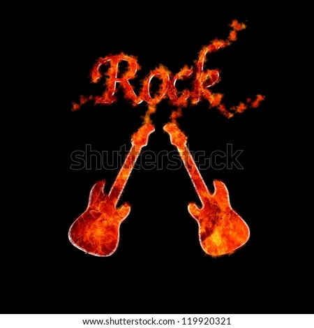 Illustration with a guitar flame on black background. - stock photo