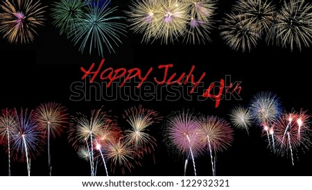 Illustration with a July 4 night fireworks. - stock photo