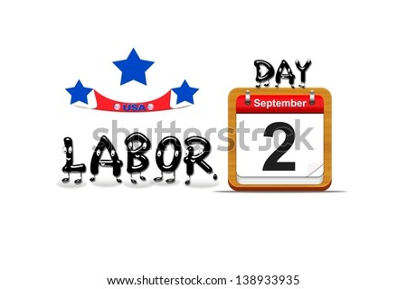 Illustration with a labor day  calendar on a white background.