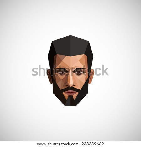 illustration with a male face in low polygonal style  - stock photo
