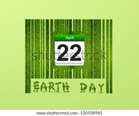 Illustration with a nature barcode and Earth day. - stock photo
