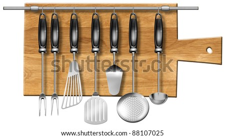Illustration with a set of kitchen utensils hanging on steel pole on a wooden chopping board - stock photo