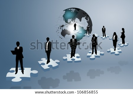 Illustration with a team on puzzle pieces. - stock photo