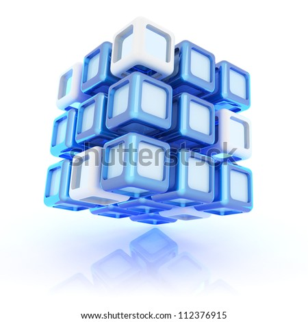 Illustration with abstract blue composite cube - stock photo