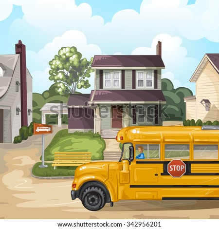 Illustration with american neighborhood and school bus - stock photo