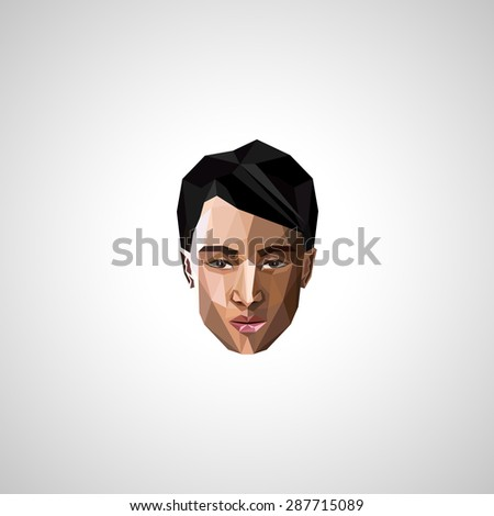 illustration with an asian guy face in polygonal style - stock photo