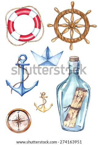 Illustration  with anchors, helm, compas and lifebuoy - stock photo