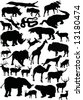 illustration with animals silhouettes collection isolated on white background - stock photo