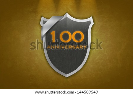 illustration with 100 anniversary signal on gold background. - stock photo