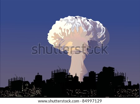 illustration with atomic explosion cloud above city - stock photo
