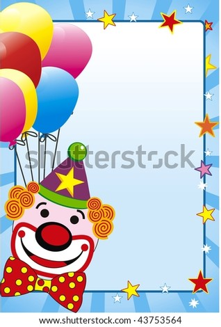 illustration with balloon and clown for party