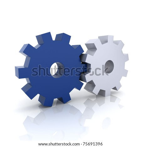 Illustration with blue and metallic gears teamwork concept (blue collection) - stock photo