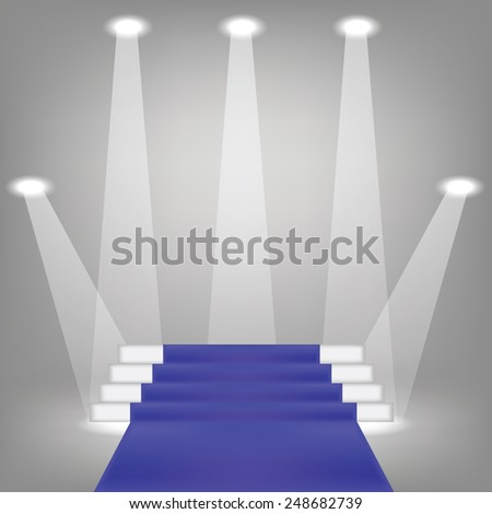 illustration  with blue carpet on grey background - stock photo
