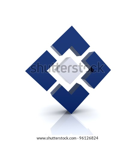 Illustration with 4 blue elements (achievement symbol) - stock photo