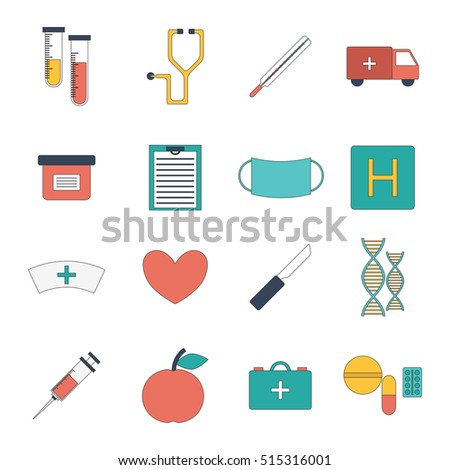 Illustration with cartoon flat medical objects: pills, thermometer, ambulance, stethoscope, medicine chest, dna, heart, scalpel knife. First aid concept. Medical doctor icons flat design