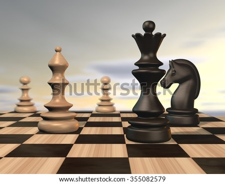 Illustration with chess pieces and chessboard and sky background. - stock photo