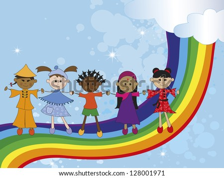 illustration with children of different nationality - stock photo