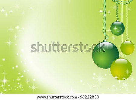 Illustration with Christmas spheres on a green abstract background with glittering stars and empty space for text