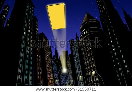 Illustration with city in the background at night with flash of light - stock photo