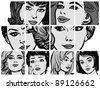 Illustration with collection of portraits blondes and brunettes - stock vector